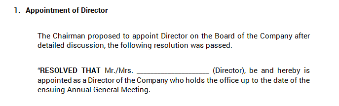 Board Meeting - Appointment of Director