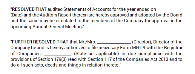 Board Meeting - Approval of Annual Accounts