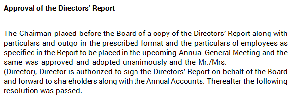 Board Meeting - Approval of Directors' Report