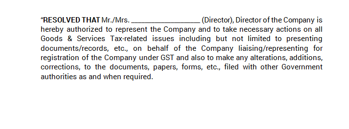 Board Meeting - Approval of GST Registration