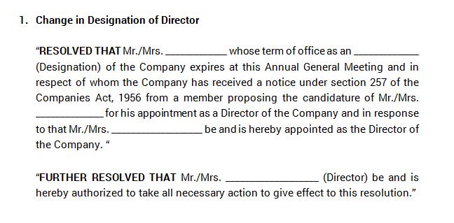 Board Meeting - Change in Designation of Director