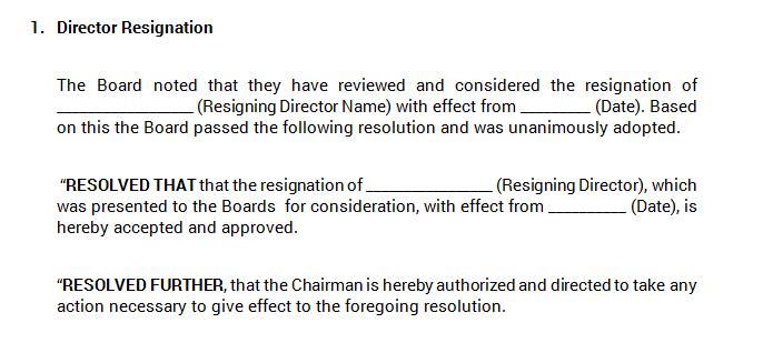 Board Meeting - Director Resignation