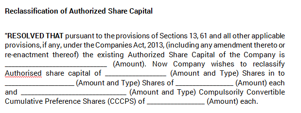 Board Meeting - Reclassification of Shares