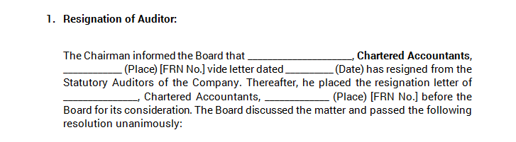 Board Meeting - Resignation of Auditor