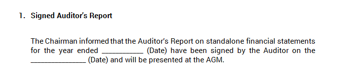 Board Meeting - Signed Auditor's Report