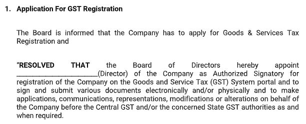 Board Meetings - Application for GST