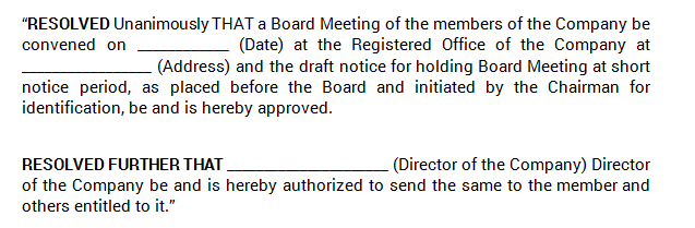 Board Meetings - Intimate Board Meeting At A Short Notice