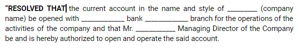 Board Meetings - Opening A Bank Account