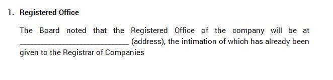 Board Meetings - Registered Office