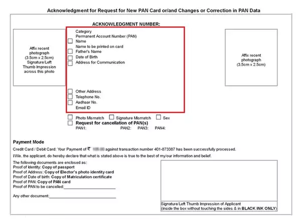 Change or Correction in PAN - Acknowledgment Form