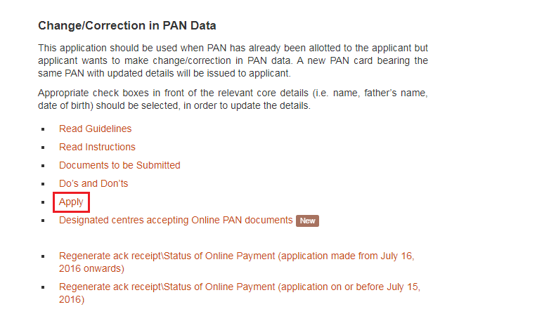 Change or Correction in PAN Data