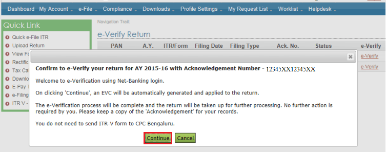 e-Verify ITR - Click on Continue