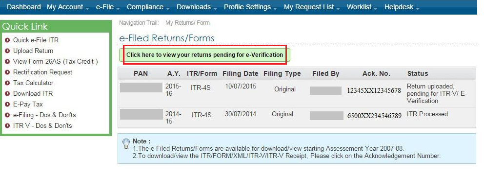 View Pending ITR to e-Verify