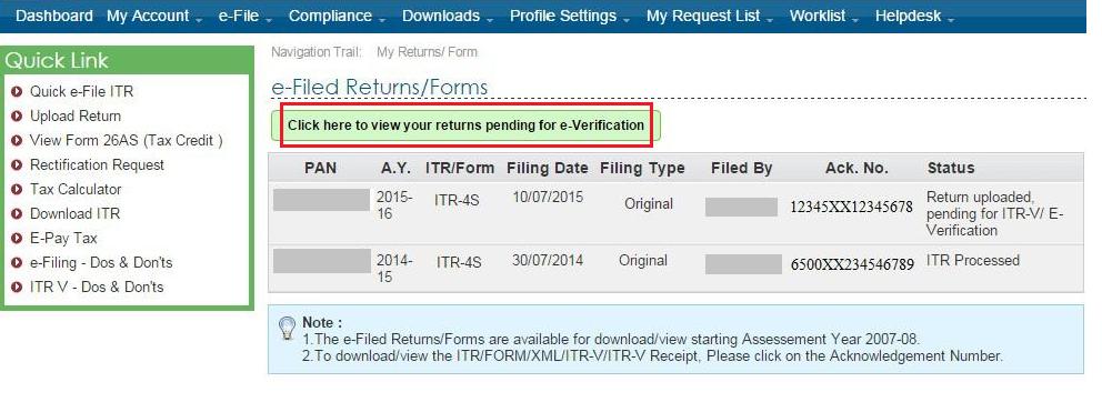 View Pending ITR to e-Verify