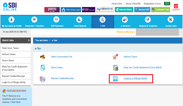 SBI Net Banking - Select Login to Income Tax e-Filing Option