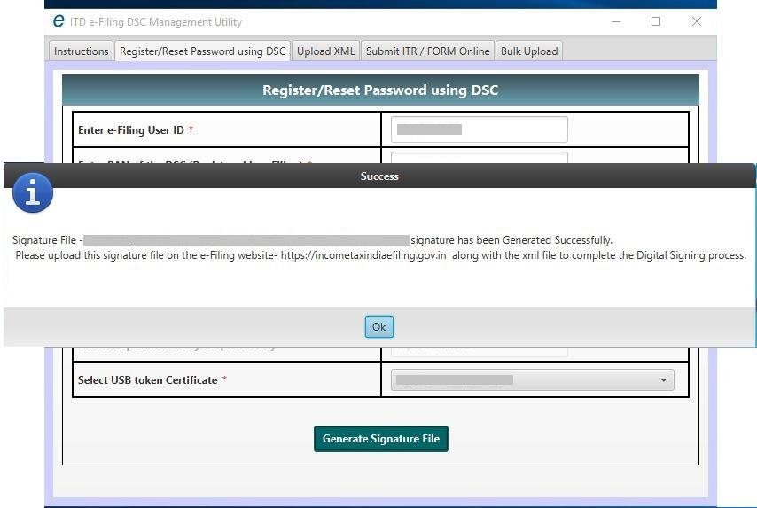 DSC Management Utility - Register DSC or Reset Password - Signature File