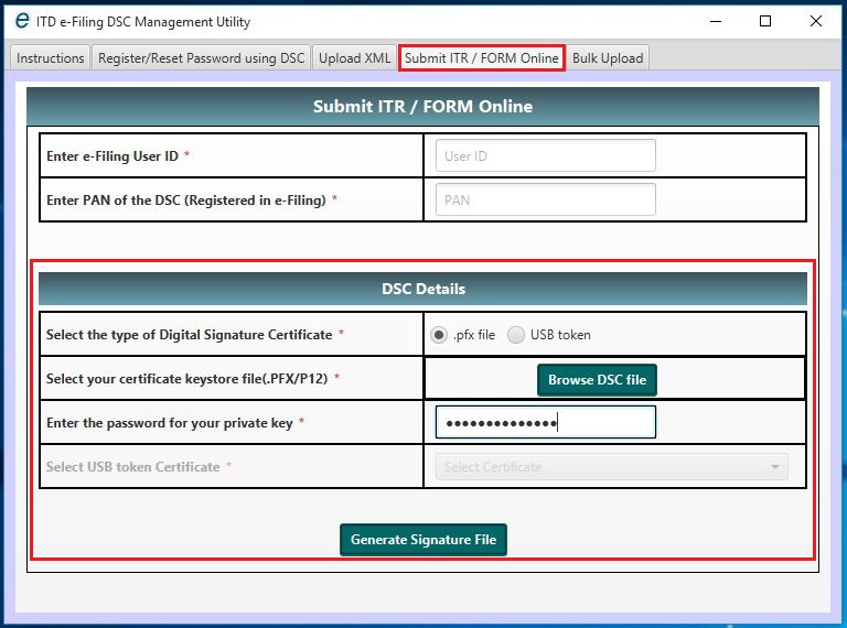 DSC Management Utility - Submit ITR or Form Online - Sign using PFX File