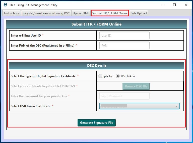 DSC Management Utility - Submit ITR or Form Online - Sign using USB Token