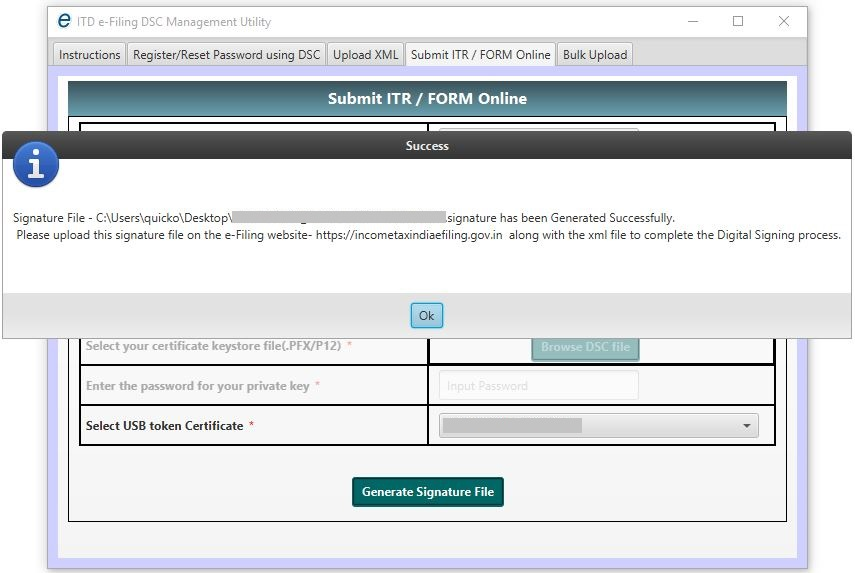 DSC Management Utility - Submit ITR or Form Online - Signature File