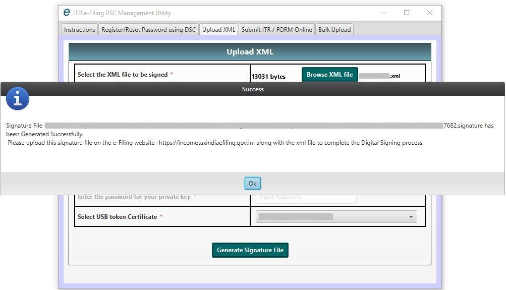 DSC Management Utility - Upload XML - Signature file