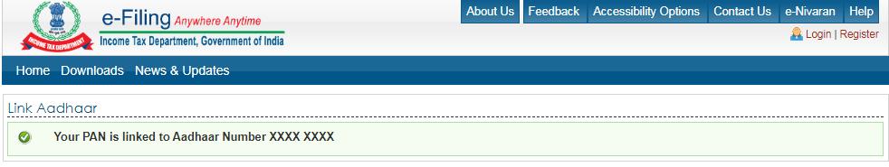 Income Tax e-Filing Portal - PAN-Aadhaar Link Status