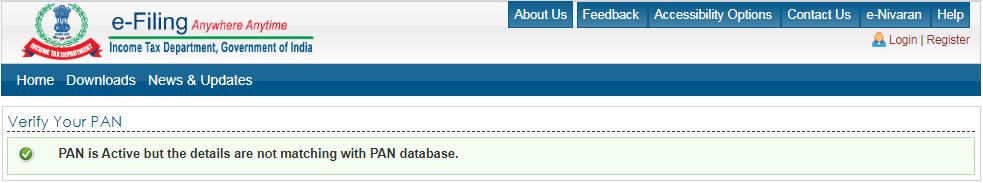 Income Tax e-Filing Portal - Result Page