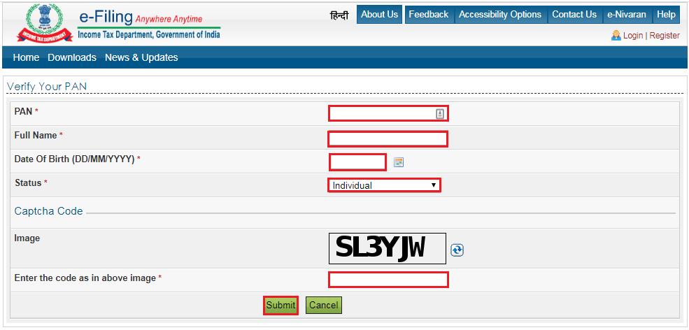 Income Tax e-Filing Portal - Verify PAN Details PageIncome Tax e-Filing Portal - Verify PAN Details Page
