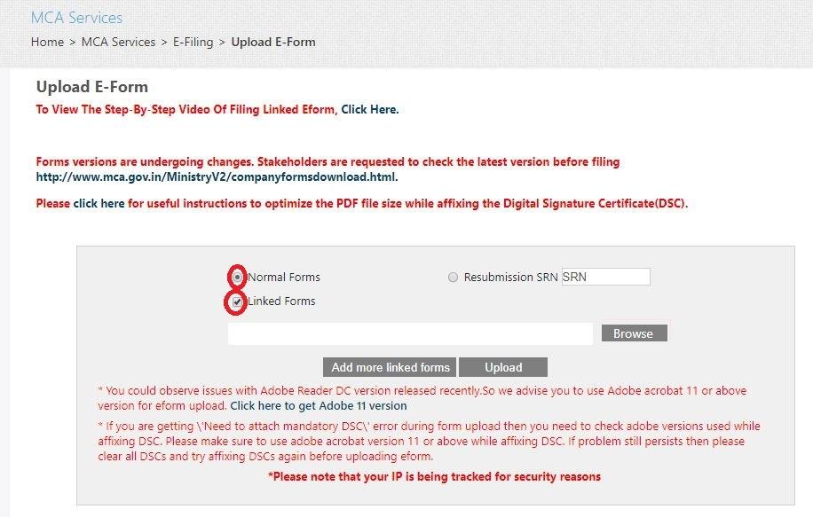 MCA - Select Linked eForm