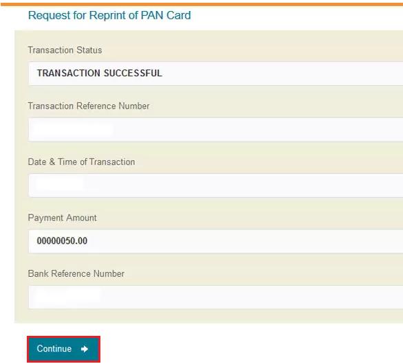 Reprint PAN - Transaction Details