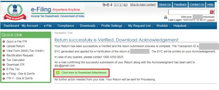 citibank Return successful_e-Verified_ITR-V