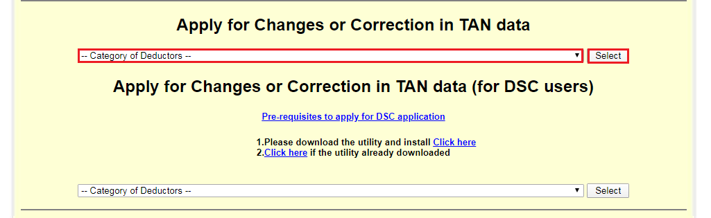 TIN-NSDL - Category of Deductors