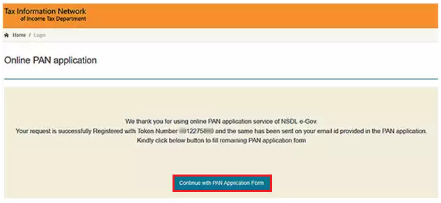 TIN-NSDL - Continue With PAN Application Form Option