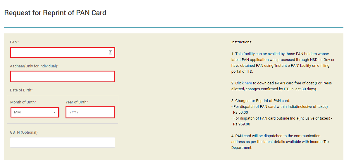 TIN-NSDL - Request for Reprint of PAN Card