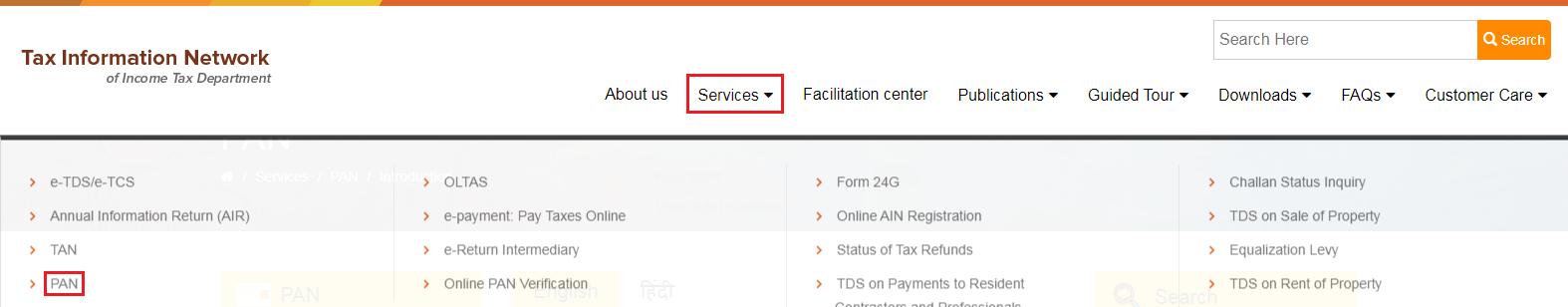 TIN-NSDL - PAN Services