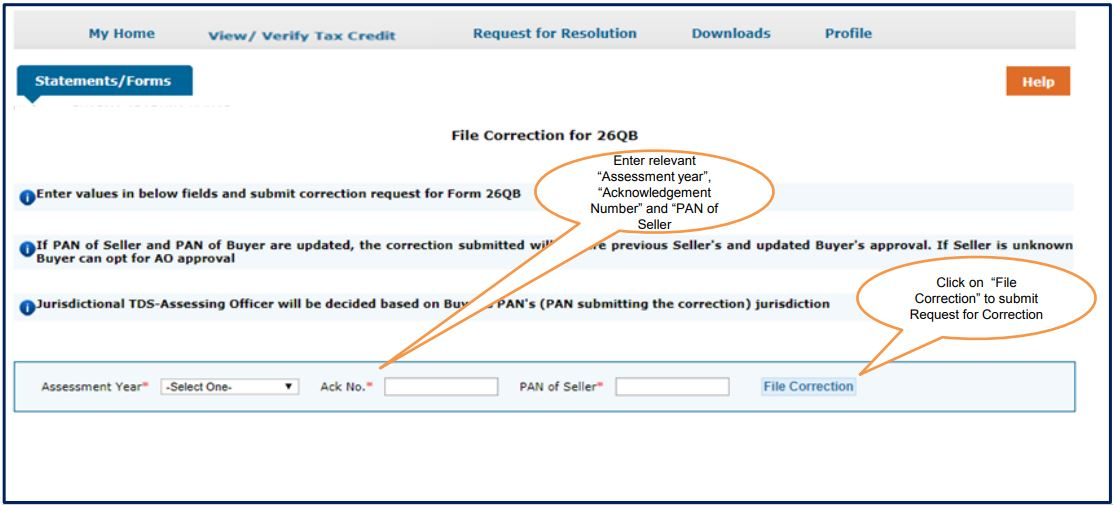 TRACES - Form 26QB Correction - Enter Assessment Year, Acknowledgement Number, PAN of Seller