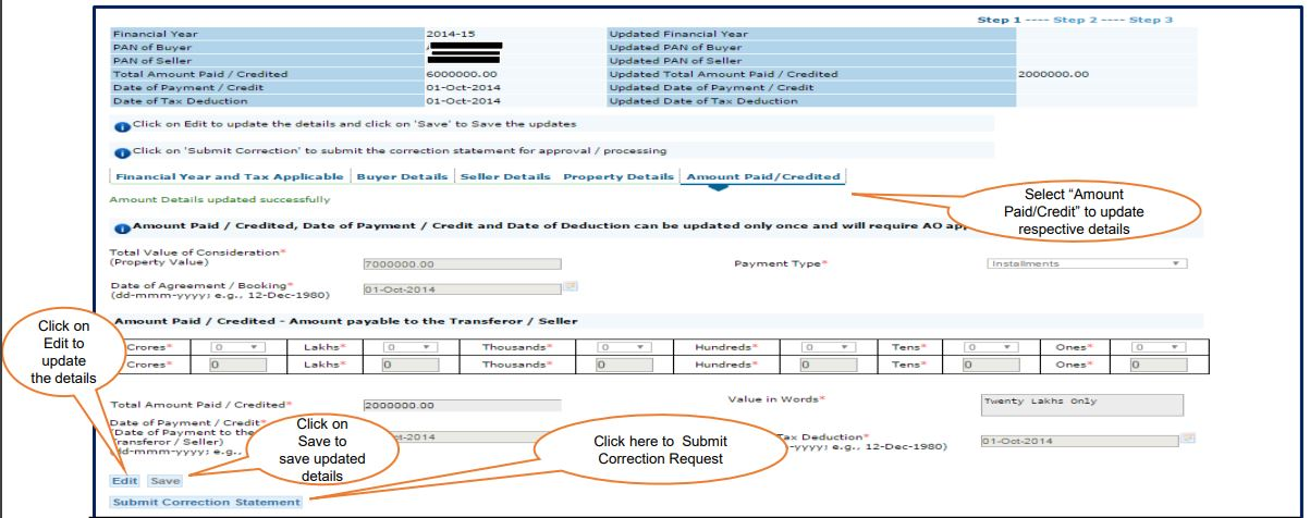 TRACES - Form 26QB Correction Request - Amount Paid or Credited Details