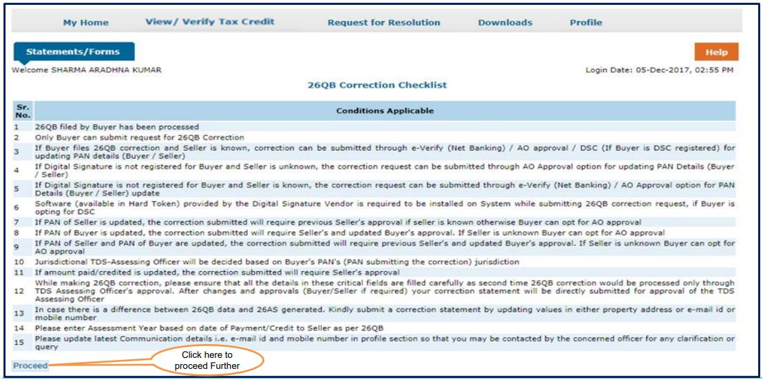 TRACES - Form 26QB Correction - Review Checklist