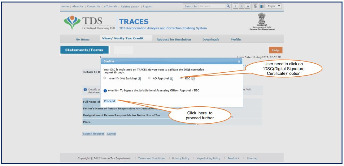 TRACES - Form 26QB Correction - Select DSC