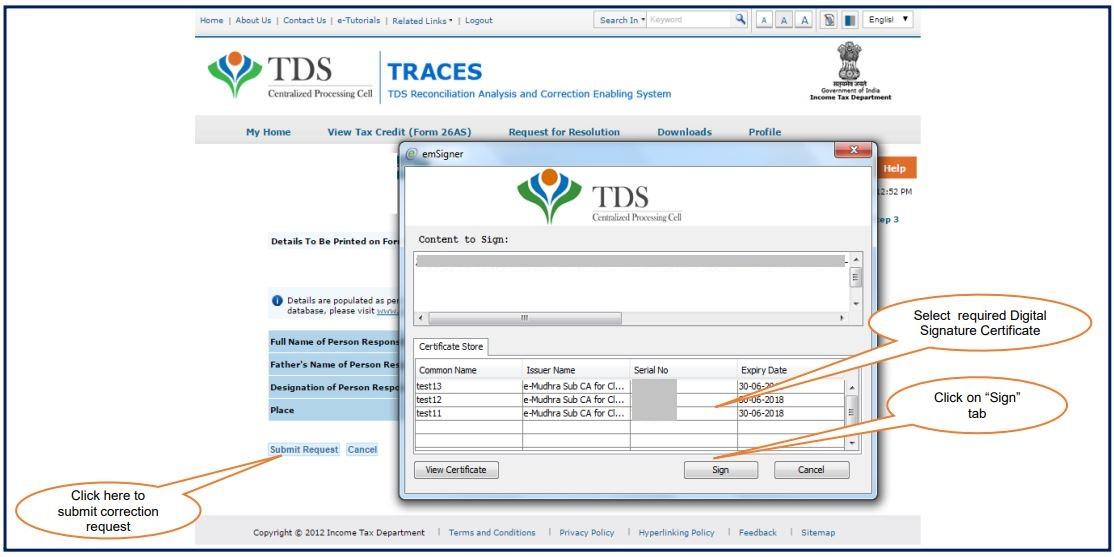 TRACES - Form 26QB / 26QC Correction - Sign using DSC