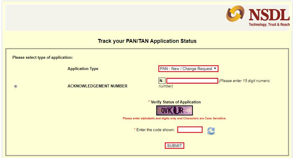 Track PAN Application Status - TIN-NSDL