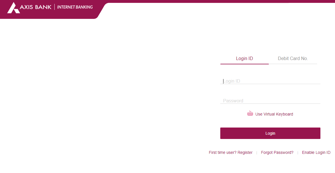 Axis Net Banking Login Page