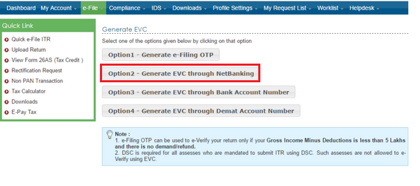 Option to e-Verify ITR via NetBanking