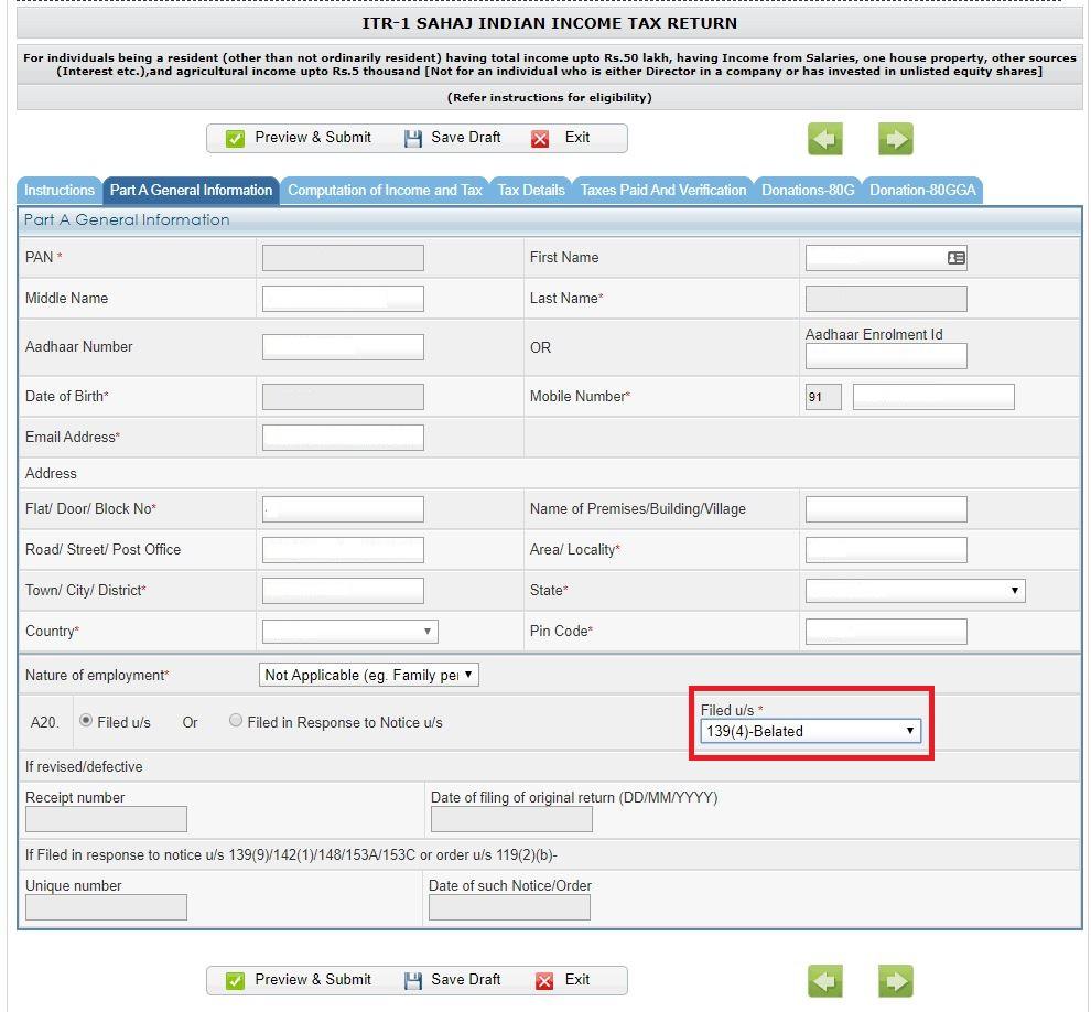 how to file belated return_IT Website_Enter Details