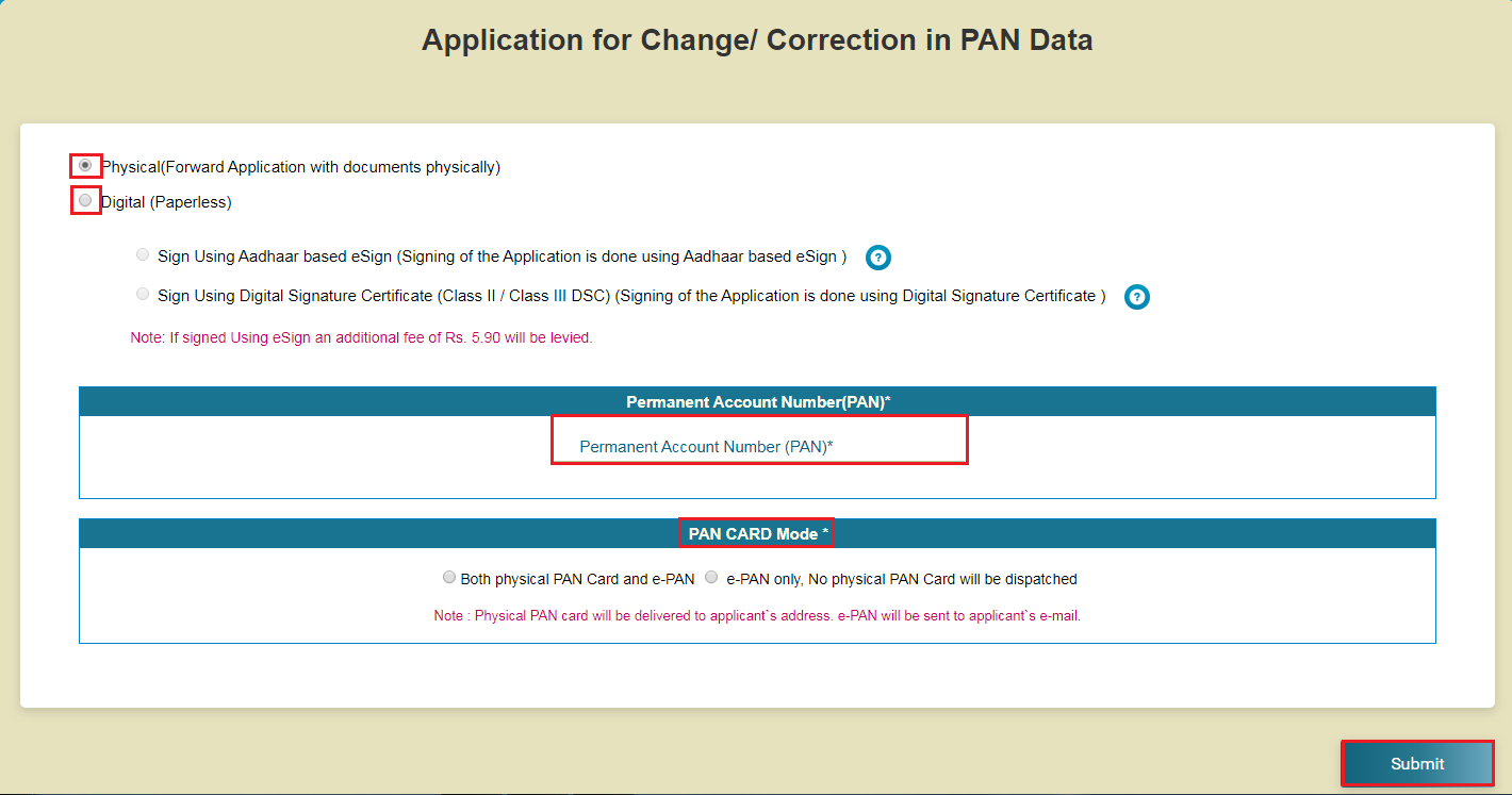 Change or Correction in PAN Application Page