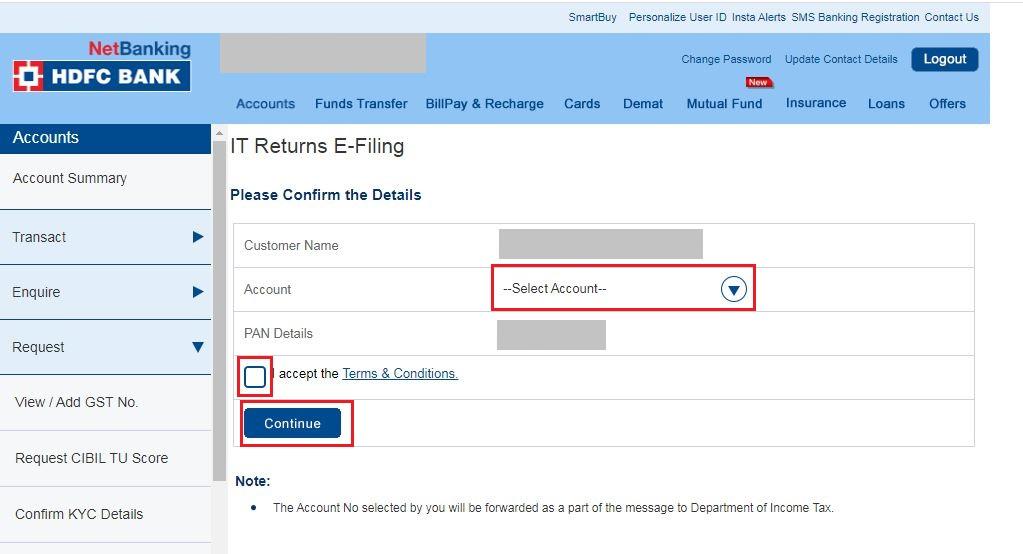 Enter Pan details_e-Verify_ITR-V_HDFC