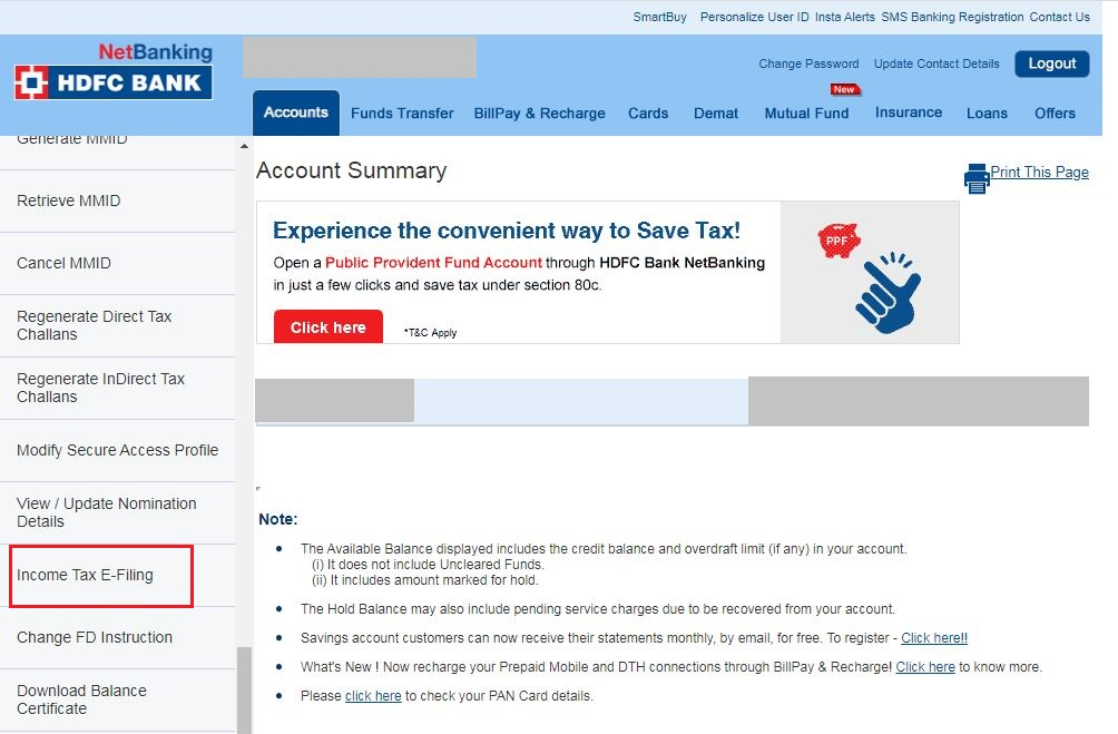 HDFC Net Banking - Select Income Tax e-Filing Option