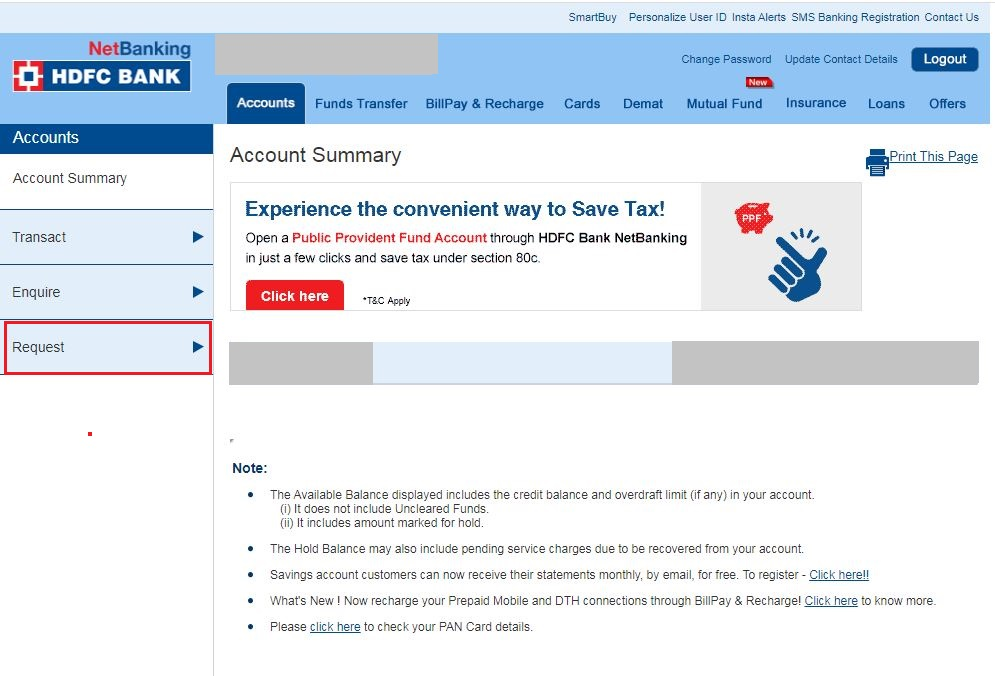 HDFC Net Banking - Request e-verification of ITR