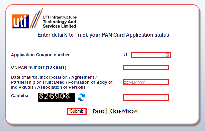 Track Your PAN Card Status - UTIITSL
