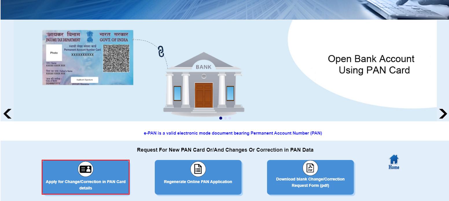 UTIITSL - Application for Change or Correction in PAN Option