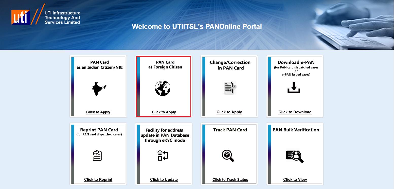 UTIITSL - Foreign PAN Card Application Option